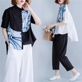 棉麻短袖 新款胖mm夏裝上衣百搭減齡寬鬆立領亞麻襯衫女短袖大碼襯衣潮 - 巴黎衣櫃