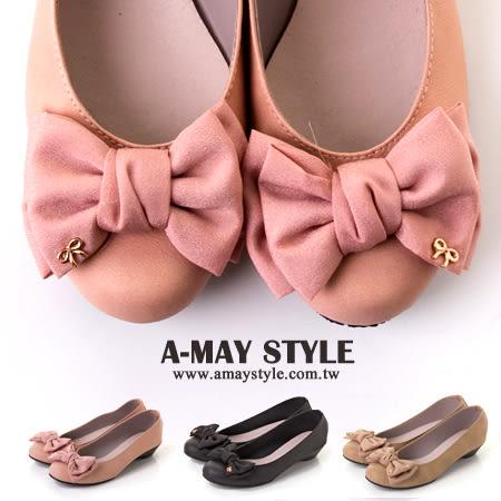 雙蝴蝶結輕楔型包鞋