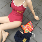 Qmigirl 泳裝【WET349】字母印染露背系帶比基尼三角連身泳衣 溫泉 沙灘 BIKINI