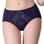 思薇爾-撩波無拘束之花系列M-3XL蕾絲中腰三角內褲(風華藍)