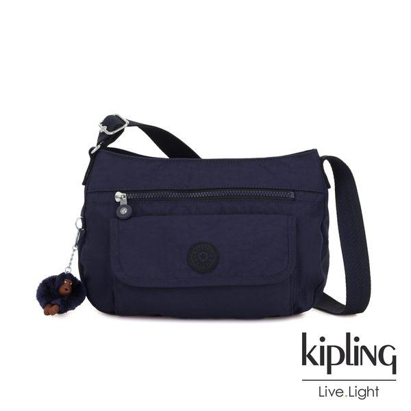Kipling 復古歐風墨水藍掀蓋側背包-SYRO