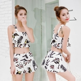 新款泡溫泉韓國分體小清新女生游泳衣兩件套平角裙式海邊度假泳裝 週年慶降價