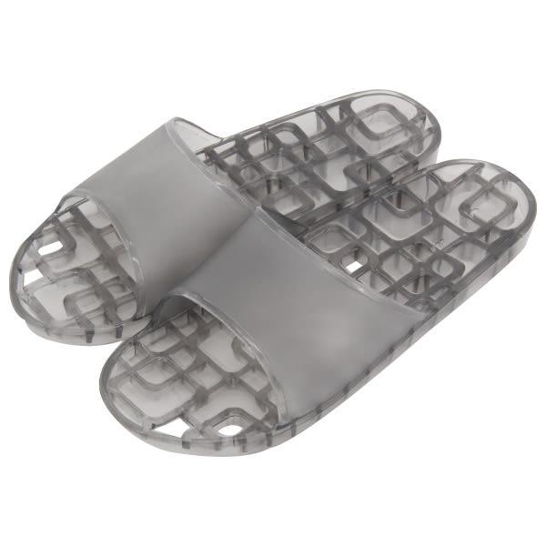 浴室拖鞋 74008方格排水 黑M NITORI宜得利家居