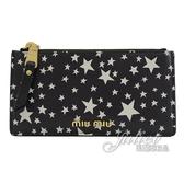 茱麗葉精品【全新現貨】MIU MIU 5MB006 浮雕LOGO星星印花牛皮多卡式零錢包.黑