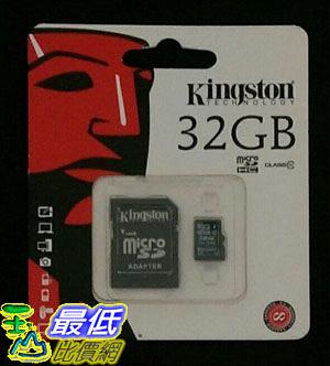 [106美國直購] Kingston 32 GB 隨身碟 Class 10 MicroSDHC Card Adapter included