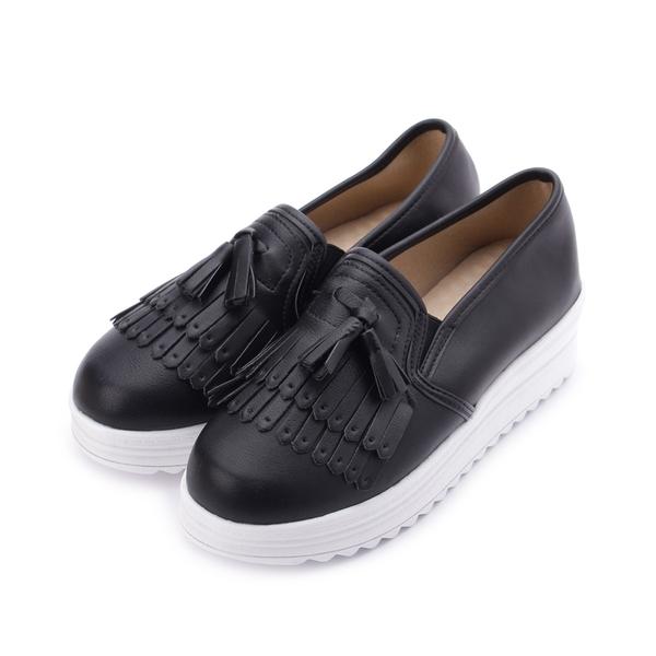 MATERIAL 流蘇套式厚底鞋 黑 001374黑 女鞋 鞋全家福
