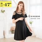 連身裙--浪漫復古個性肩部網紗荷葉袖A字傘狀雪紡洋裝(黑L-3L)-D562眼圈熊中大尺碼中大尺碼