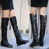 過膝長靴子女高筒女鞋秋冬皮靴女平底流蘇大筒圍大碼長筒靴女〖夢露時尚女裝〗