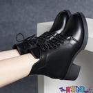 高跟短靴 粗跟馬丁靴女2021秋冬新款英倫風系帶短靴中高跟韓版百搭棉靴 618狂歡