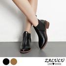 ZALULU愛鞋館 7IA240 美型顯瘦低筒切爾西裸靴-黑/淺棕-35-40