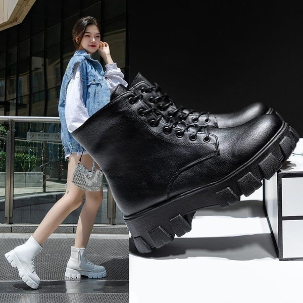 促銷大碼鞋 35-43碼 大碼女鞋41首爾新款圓頭系帶中筒個性中跟馬丁靴機車靴42