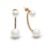 耳環 玫瑰金 925純銀鑲鑽-曲線珍珠情人節生日禮物女飾品73gs178【時尚巴黎】