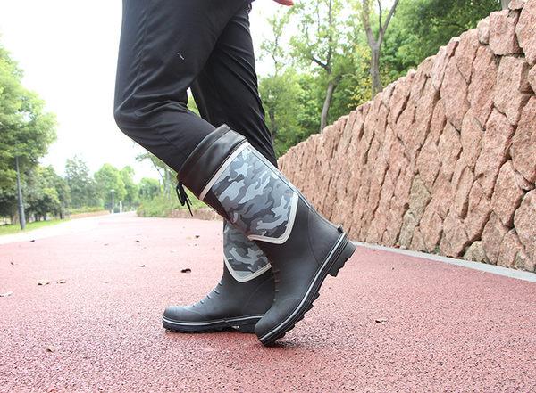 春夏高筒雨鞋男工地安全防砸鋼頭勞保鞋迷彩釣魚鞋洗車鞋水鞋套鞋 英雄聯盟