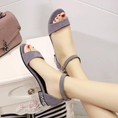 低跟涼鞋 夏季新款韓版簡約露趾平底低跟涼鞋女2021一字扣百搭學生羅馬鞋 夏季新品