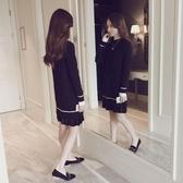 秋冬針織連身裙打底加厚加絨長款毛衣裙冬季