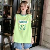 球衣 吊帶運動背心無袖t恤女夏外穿籃球服bf風寬鬆學生酷上衣ins潮 麗人印象 免運