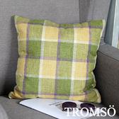 TROMSO品味英倫棉麻抱枕/英倫格子黃綠