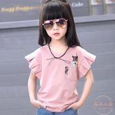 女童純色短袖T恤韓國夏裝新款中大童兒童棉質半袖圓領上衣潮 【販衣小築】