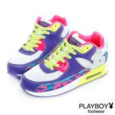 PLAYBOY 迷彩旋風~舒適慢跑運動休閒鞋-白紫(女)