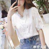 短袖T恤女白色夏裝2019新款韓版蕾絲打底衫超仙花邊鏤空上衣服潮『摩登大道』