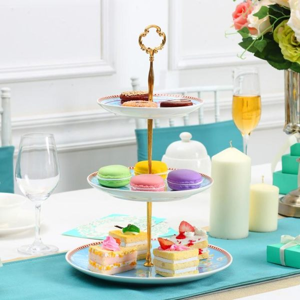 歐式陶瓷客廳多層點心盤糖果盤蛋糕架托盤下午茶三層點心架水果盤開學季,7折起