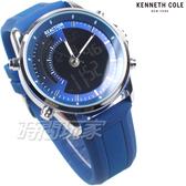 Kenneth Cole 休閒雙顯錶 電子錶 多功能 計時碼錶 男錶 藍色 橡膠錶帶 RK50815010