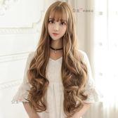 中長假髮韓系假髮女長捲髮韓系空氣大頭皮大波浪自然中分長髮逼真女生假髮