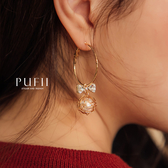 PUFII-耳環 蝴蝶結珍珠氣質耳環-1112 現+預 冬【CP17541】