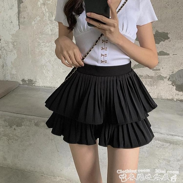 百摺裙蛋糕半身裙高腰顯瘦防走光裙褲百摺短裙女夏季2021年新款黑色裙子 衣間