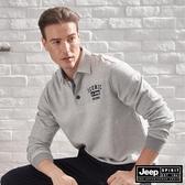 【JEEP】經典款休閒長袖POLO衫 (淺灰色)