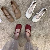 軟皮軟底奶奶鞋女復古平底仙女一字扣豆豆鞋女夏2021單鞋瑪麗珍鞋 快速出貨