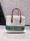 ■專櫃83折■ 全新真品■ Celine Soleil 紡織和小牛皮橫式Cabas包