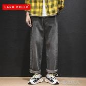 秋季新款牛仔褲男士潮牌寬鬆直筒墜感闊腿網紅抖音秋冬款長褲 布衣潮人