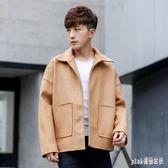 中大尺碼毛呢外套 新款男士短款港風冬季男生外套潮流學生毛呢風衣男 js18121『Pink領袖衣社』