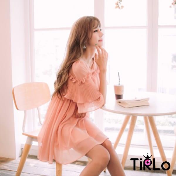 洋裝 -Tirlo-婉約百褶裝飾打折洋裝-單一/SML(現+追加預計5-7工作天出貨)
