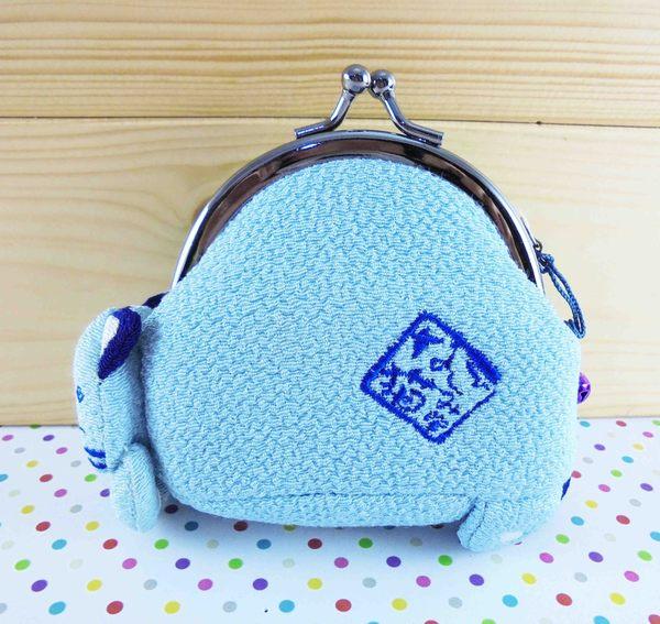 【震撼精品百貨】招財貓_招き猫~珠扣零錢包-睡覺藍