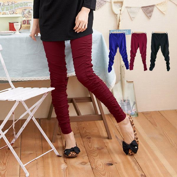 質感長褲 Ringbear眼圈熊-時尚有型.小腿抓皺鬆緊褲頭長褲P53(黑、紅、藍M-4L)