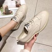 新款春夏韓版小皮鞋女學院風圓頭厚底繫帶單鞋純色蘿莉鞋 凱斯盾