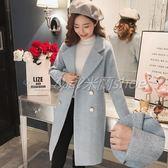 毛呢大衣 人字紋毛呢外套中長款韓版新款冬呢子大衣妮學生流行  米蘭shoe