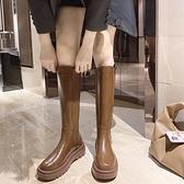 中大尺碼長靴 女2021網紅新款百搭棉靴瘦瘦靴騎士復古英倫不過膝高筒靴 百分百