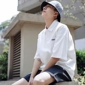 夏季小清新簡約字母刺繡polo衫男士青年寬鬆短袖體恤衫潮流半袖男