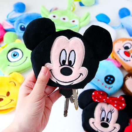 正版 迪士尼拉繩鑰匙包 吊飾 鑰匙圈 收納包 米奇 米妮 毛怪 大眼仔奇奇蒂蒂