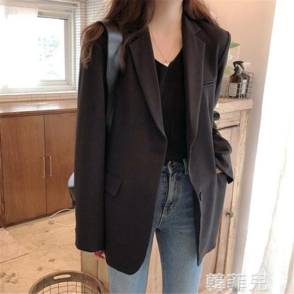 西裝外套 春秋小西裝外套女黑色新款港風韓版寬鬆英倫風西服網紅女短款 韓菲兒