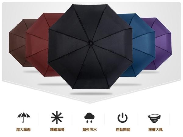 【黑把自動傘】一鍵開啟防紫外線遮陽傘 三折傘 單鍵開收摺疊傘 晴雨傘 全自動折疊傘