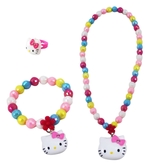 ~卡漫城~Hello Kitty 兒童飾品三件組彩珠㊣版玩具小女孩扮家家酒手鍊戒指項鍊項鏈