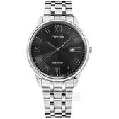 CITIZEN 星辰表 / BM6970-52E / 光動能 羅馬刻度 藍寶石水晶玻璃 日本製造 日期 不鏽鋼手錶 黑色 40mm