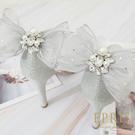 獨家訂製款 珍珠寶石蝴蝶結(銀色) 婚鞋推薦飾扣鞋夾 婚鞋裝飾 浪漫婚鞋