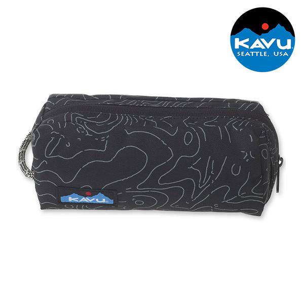 【KAVU】時尚休閒小袋 Pixie Pouch 9011 黑色等高線 / 城市綠洲 (收納包、盥洗包、美國品牌)