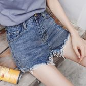 牛仔褲短褲女夏2018新款毛須褲腳高腰闊腿熱褲