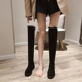 膝上靴 過膝長靴女秋冬新款加絨瘦瘦靴平底顯瘦高筒靴長筒馬丁靴 降價兩天